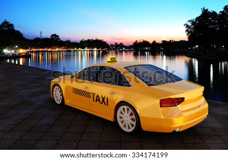Taxi parked along the park 3d rendering. - stock photo