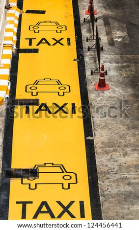 Taxi Parking Lane, Traffic Sign - stock photo