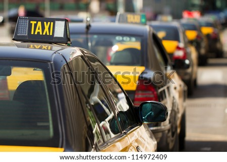 Taxi's in Barcelona - stock photo