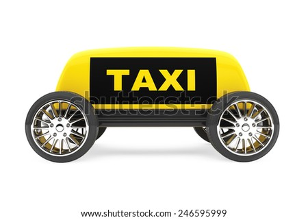 Taxi Sign on a wheels on a white background