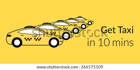 Taxi station of yellow hatchback cars. free font Lato - stock photo