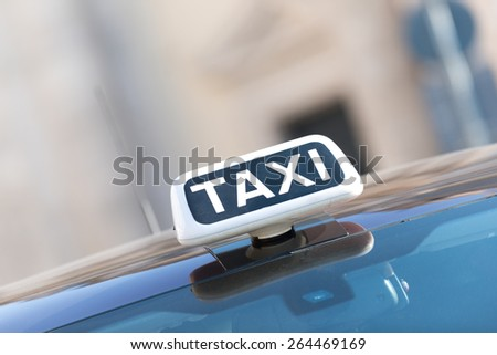 Taxi stop at town square in  Rome, Italy - stock photo