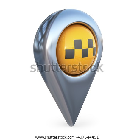 taxi target map pointer. GPS locate. 3D icon isolated - stock photo
