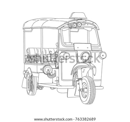 Taxi Tuk Tuk Thailand travel concept 3D rendering