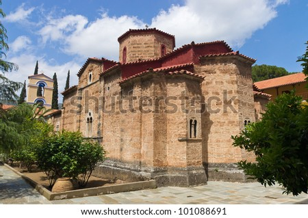 Taxiarches monastery in Greece Aigion - stock photo