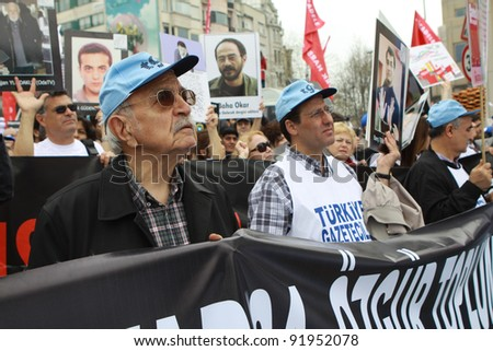 TAXIM, ISTANBUL, TURKEY-MAY 1: The journalists at May Day demonstration in Taxim Square, Istanbul, Turkey. They have wanted freedom of the press. May 1, 2011.