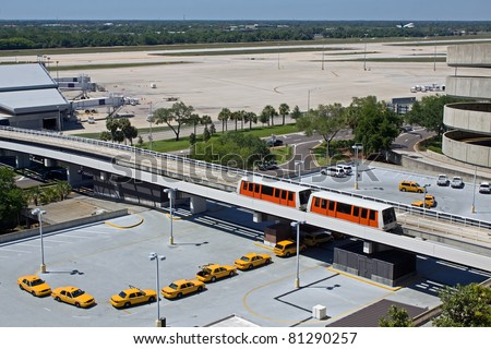 Taxis waiting at Tampa Airport in Florida,USA.