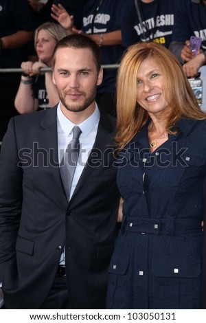 "Taylor Kitsch, Connie Britton at the ""Battleship"" Los Angeles Premiere, Nokia Theatre L.A. Live, Los Angeles, CA 05-10-12"