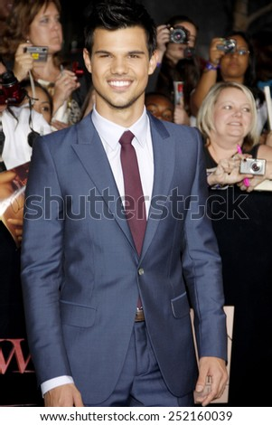"Taylor Lautner at the World Premiere of ""The Twilight Saga: Breaking Dawn Part 1"" held at Nokia Theatre L.A. Live in Los Angeles, California, United States on November 14, 2011.  - stock photo"