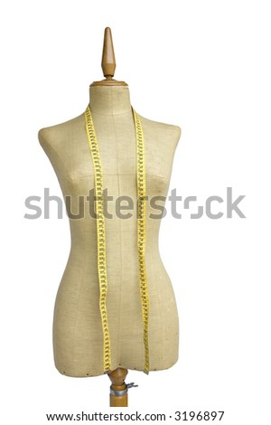 taylor mannequin with tape measure isolated on white - stock photo