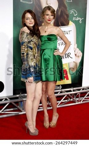 Taylor Swift and Emma Stone at the Los Angeles premiere of 'Easy A' held at the Grauman's Chinese Theater in Hollywood on September 13, 2010.  - stock photo