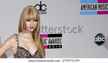 Taylor Swift at the 2010 American Music Awards held at the Nokia Theatre L.A. Live in Los Angeles on November 21, 2010.  - stock photo
