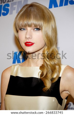 Taylor Swift at the KIIS FM's Jingle Ball 2012 held at the Nokia Theatre LA Live in Los Angeles on December 1, 2012. - stock photo