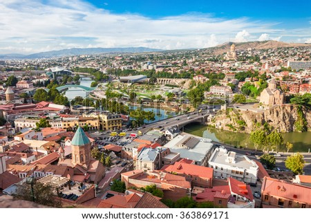 Tbilisi city center aerial view from Narikala Fortress, Georgia - stock photo
