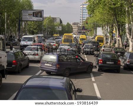 TBILISI, GEORGIA - April 29,  2014: Traffic on Tsereteli Avenue, Tbilisi - stock photo