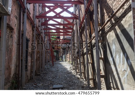 Tbilisi, Georgia - August 18, 2016: Abandoned houses in the old town of Tbilisi. Tbilisi is the capital and the largest city of Geogia with 1,5 mln people population