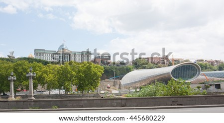 TBILISI, GEORGIA -August 8:Construction of the concert hall in Tbilisi on August 8, 2013. Tbilisi is the capital of Georgia - stock photo