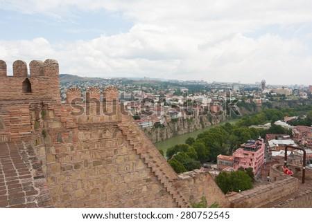 TBILISI, GEORGIA -AUGUST 08, 2013:Tbilisi view from Narikala fortress. The Republic Of Georgia - stock photo