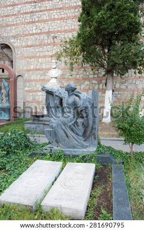 TBILISI, GEORGIA - AUGUST 08, 2013:The tomb of the actress Veriko Anjaparidze and  film Director, actor Mikhail Chiaureli  in the Mtatsminda Pantheon of Writers and Public Figures in the Tbilisi.  - stock photo