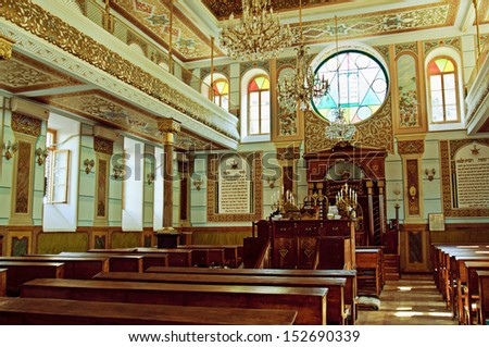 TBILISI, GEORGIA - JULY 15: Interior of the Tbilisi Great Synagogue on July 15, 2013 in Tbilisi, Georgia. The building was built  in 1895-1903 in an eclectic style by Georgian Jews from Akhaltsikhe.  - stock photo