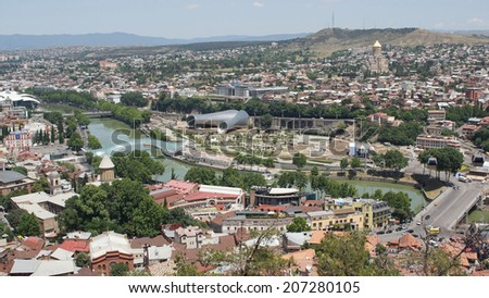 TBILISI, GEORGIA - JUNE 28, 2014: Panorama view over Tbilisi on June 28, 2014 in Georgia, East Europe