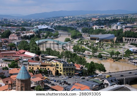 TBILISI, GEORGIA - JUNE 13, 2015: View of Tbilisi from Narikala fortress less than 12 hours before the tragic flood on June 14. - stock photo