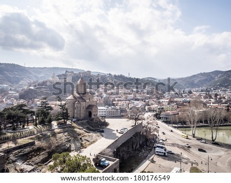 TBILISI, GEORGIA - MARCH 01, 2014: Metekhi church in the old town of Tbilisi, the capital of Georgia. The church was built in the 5th century.