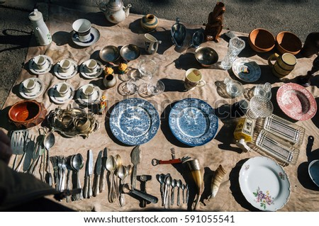Tbilisi, Georgia - October 15, 2016: Flea market on Dry bridge having a lot of vintage, plates, handmade, souvenirs and retro staff for the customers.