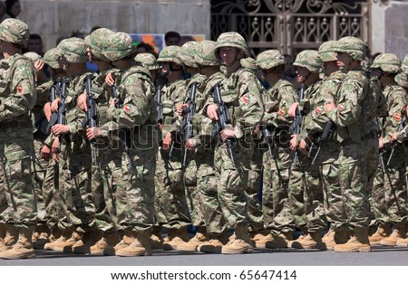 TBILISI - MAY 26: The Independence Day of Georgia. Soldiers get ready for military parade. May 26, 2010 in Tbilisi, Georgia. - stock photo