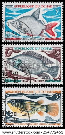 TCHAD - CIRCA 1990: A stamp printed in Tchad showing fish, circa 1990 - stock photo