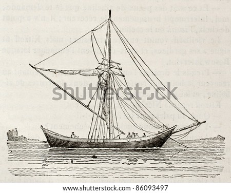 Tchickirne old illustration, antique Turkish scow. By unidentified author, published on Magasin Pittoresque, Paris, 1842 - stock photo