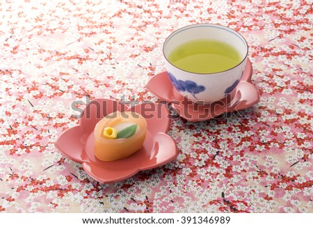 Tea and a Japanese sweet - stock photo