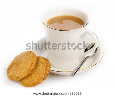 Tea and biscuits - high-key studio shot - stock photo