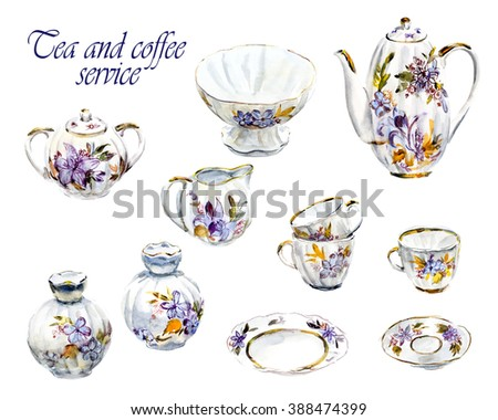 Tea and coffee service. Set of beautiful porcelain. Water color hand drawn illustration. Collection utensil. - stock photo