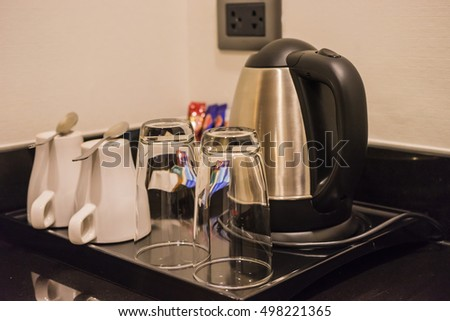 tea and coffee set in the hotel room
