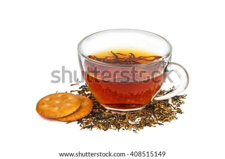 Tea and cookies isolated on white background - stock photo