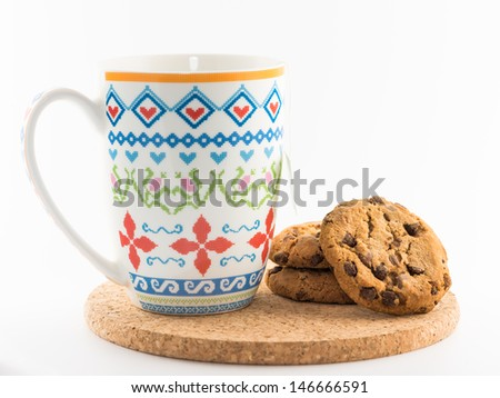 Tea and cookies on white background - stock photo