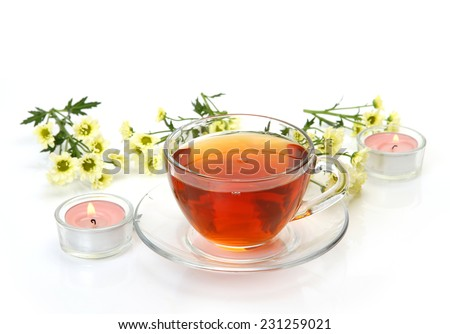 tea and flowers - stock photo