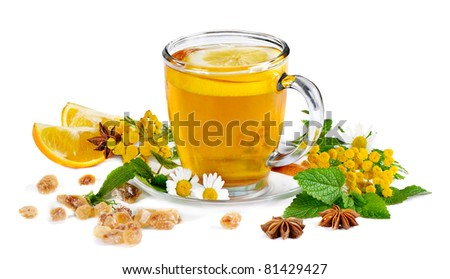 Tea and herbs isolated on white background - stock photo