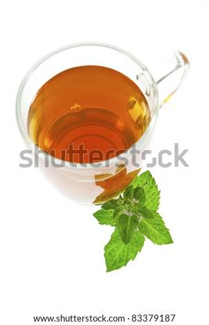 tea and mint leaf isolated on white