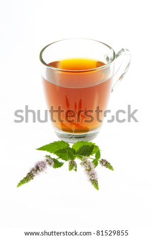 tea and peppermint flowers isolated on white