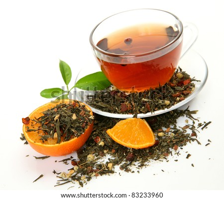 Tea and piece of an orange
