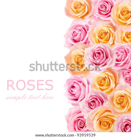 Tea and pink roses background with sample text - stock photo