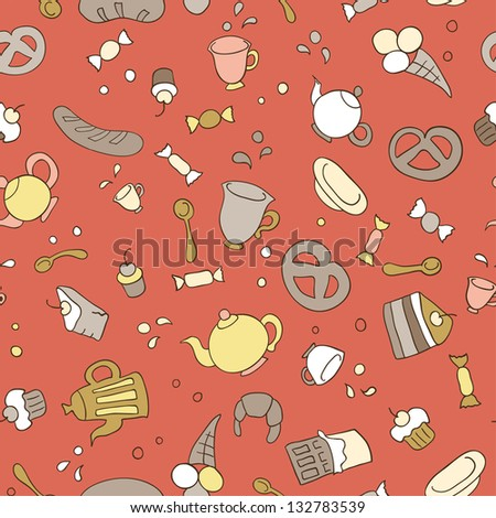 Tea and sweets seamless background, vector illustration - stock photo