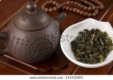 Tea and teapot for Chinese tea ceremony - stock photo