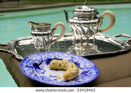 Tea at the pool - stock photo