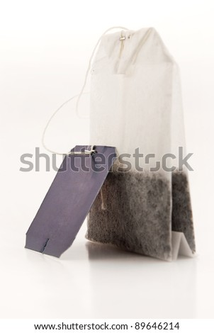 tea bag with a label on a white background