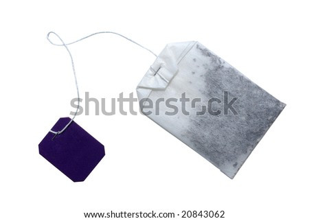 Tea bag with violet tag isolated on white. Clipping path included.