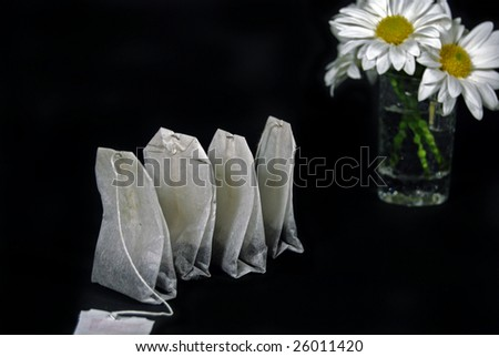 tea bags with daisy bouquet - stock photo