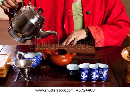 Tea being made in a traditional way - stock photo